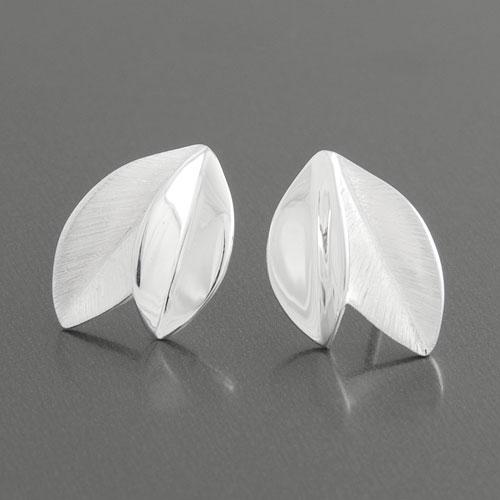 Blätter Blatt matt Avantgarde Design Ohrstecker Ohrringe 925 Sterling Silber neu