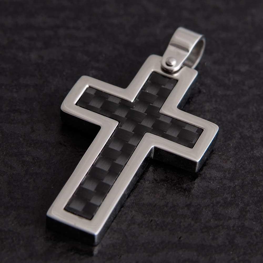 Kreuzanhänger  Moderner Kreuzanhänger aus Edelstahl mit Carbon-Optik